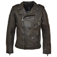 Herren Lederjacke Fleming - Black/Grey