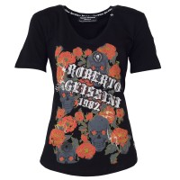 DAMEN FLOWER T-SHIRT ROSES SKULL
