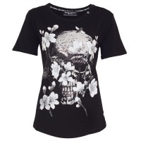DAMEN T-SHIRT SKULL DIAMOND FLOWER