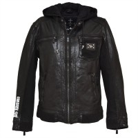Men's leather jacket jenson - Sporty - Black