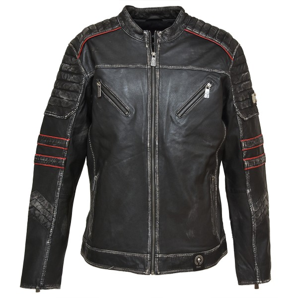 Mens Leather Jacket ruben - Biker Jacket - Black