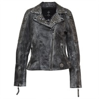 Ladies Leather Jacket zoe - Biker Jacket - Black/Grey