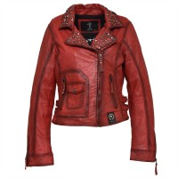 Ladies Leather Jacket okkea - Biker Jacket Red