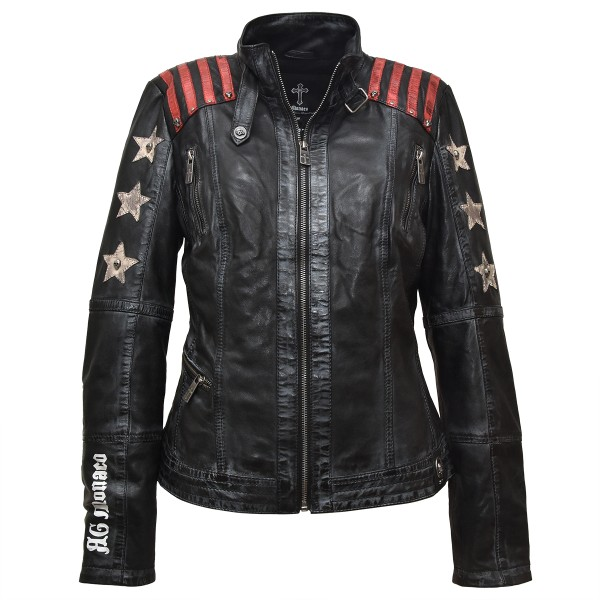 Ladies Leather Jacket Starlet - Biker Jacket - Black